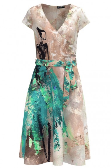 Rochie casual de vara cu maneca scurta si imprimeu Fashion CMD993