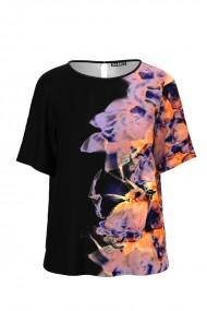 Bluza neagra de vara cu maneca scurta si imprimeu abstract CMD1000