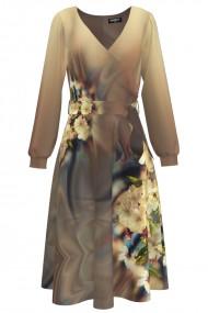 Rochie eleganta cu maneca lunga si imprimeu Floral CMD1014