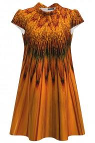 Rochie casual imprimata digital in nuante de ocru CMD1017