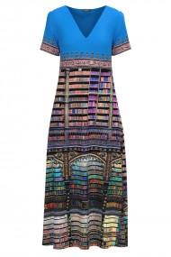 Rochie de vara lunga cu buzunare imprimata digital Carti CMD1024