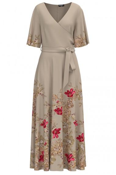 Rochie de seara lunga bej imprimata digital cu model floral CMD1028
