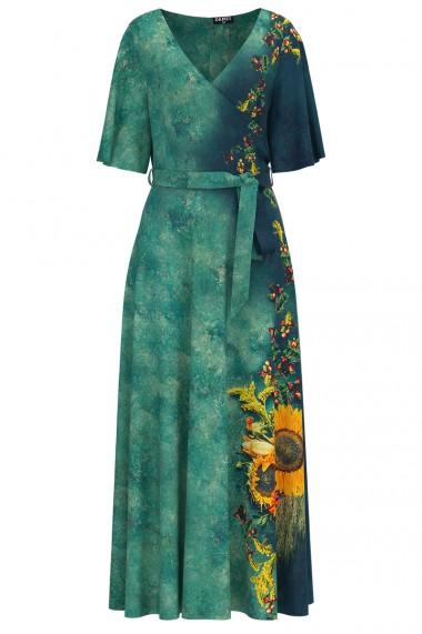 Rochie de seara lunga verde imprimata digital cu model floarea soarelui CMD1029