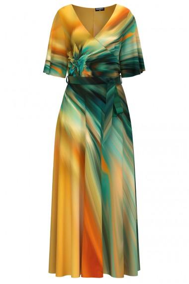 Rochie de seara lunga imprimata digital multicolora CMD1034