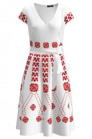 Rochie casual de vara cu maneca scurta si imprimeu Traditional CMD1038