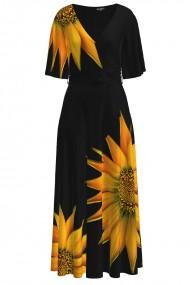 Rochie lunga eleganta de seara imprimata digital Floarea soarelui CMD1049