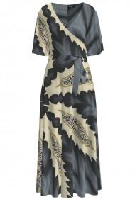 Rochie lunga eleganta de seara imprimata in nuante de gri CMD1050