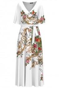 Rochie alba lunga eleganta de seara imprimata digital cu model Floral CMD1054