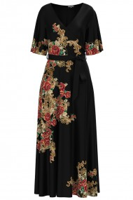 Rochie neagra lunga eleganta de seara imprimata digital cu model Floral CMD1055