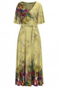 Rochie lunga eleganta de seara imprimata digital cu model Multicolor CMD1058