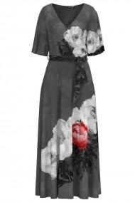 Rochie gri lunga eleganta de seara imprimata digital cu model Bujori CMD1059