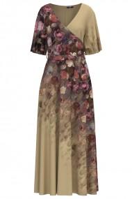 Rochie bej lunga eleganta de seara imprimata digital cu model Floral CMD1060