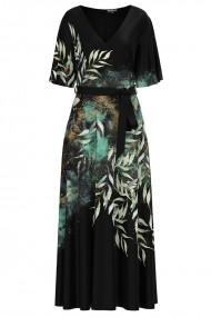 Rochie neagra lunga eleganta de seara imprimata digital cu model Frunze CMD1061