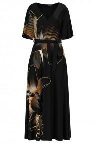 Rochie neagra lunga eleganta de seara imprimata digital cu model Crini CMD1062