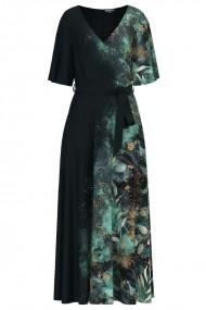 Rochie neagra lunga eleganta de seara imprimata digital cu accente turcuaz CMD1065