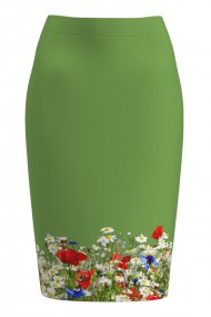 Fusta conica verde imprimata cu model Flori de camp CMD1070