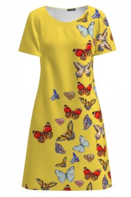 Rochie galbena casual evazata imprimata digital cu fluturi multicolori CMD1072
