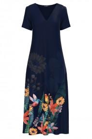 Rochie de vara lunga cu buzunare imprimata Colibri CMD1074