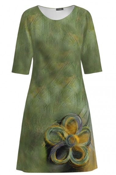 Rochie casual cu maneca imprimata digital model floral CMD1081