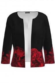 Sacou negru cambrat imprimat Trandafiri CMD1084