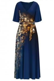 Rochie albastra lunga eleganta de seara imprimata sclipiri CMD1110