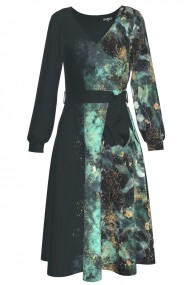 Rochie eleganta cu maneca lunga imprimata cu accente turcuaz CMD1111