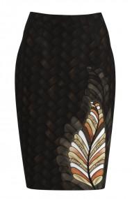 Fusta conica maro imprimata cu model floral CMD1135