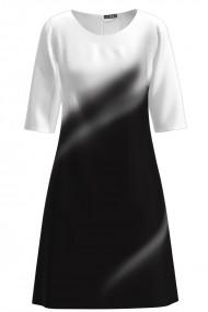 Rochie casual imprimata alb negru CMD1150