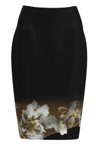 Fusta conica neagra imprimata cu model floral CMD1160
