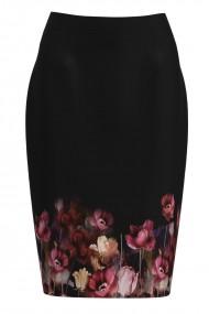Fusta conica neagra imprimata cu model floral CMD1164