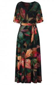 Rochie lunga eleganta de seara imprimata digital cu model floral CMD1181