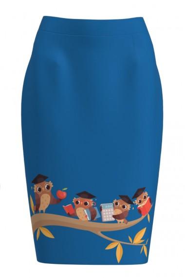 Fusta conica albastra imprimata cu model Bufnita CMD1189