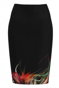 Fusta conica neagra imprimata multicolor CMD1217
