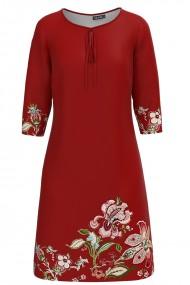 Rochie casual rosu caramiziu imprimata cu model floral CMD1249