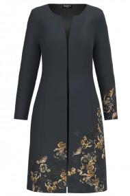 Jacheta de dama lunga imprimata antracit cu model floral CMD1165