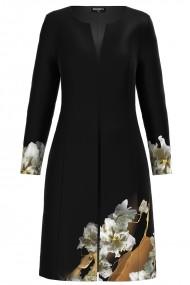 Jacheta de dama lunga neagra imprimata cu model floral CMD1166