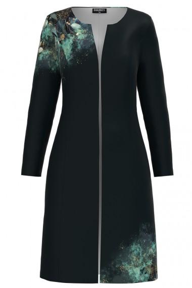 Jacheta de dama lunga imprimata cu model floral turcuaz CMD1167