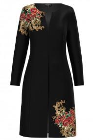 Jacheta de dama lunga neagra imprimata cu model floral auriu CMD1168