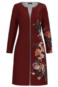 Jacheta de dama lunga grena imprimata cu model floral CMD1169