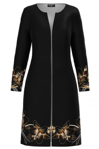 Jacheta de dama lunga neagra imprimata cu model floral crini CMD1170