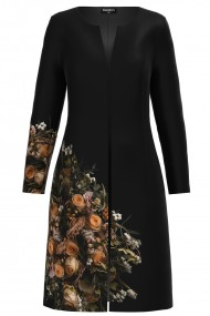 Jacheta de dama lunga neagra imprimata cu model floral trandafiri CMD1173