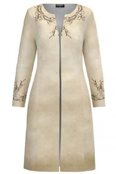 Jacheta de dama lunga bej imprimata cu model floral CMD1174