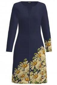 Jacheta de dama bleumarin lunga imprimata margarete CMD1220