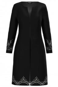 Jacheta de dama neagra lunga imprimata cu model floral CMD1228