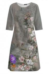 Rochie casual gri imprimata cu model floral CMD1262