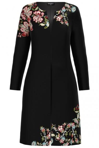 Jacheta de dama neagra lunga imprimata cu model floral CMD1280