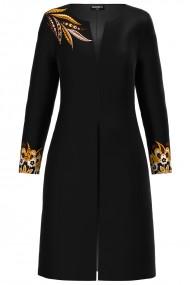 Jacheta de dama neagra lunga imprimata cu model floral CMD1282
