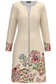 Jacheta de dama crem lunga imprimata cu model floral CMD1283