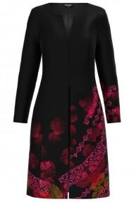Jacheta de dama neagra lunga imprimata cu model traditional CMD1287