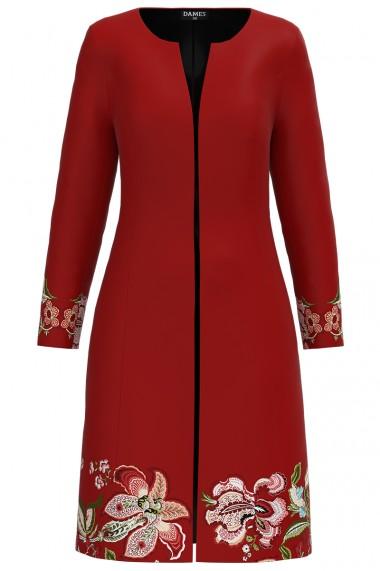 Jacheta de dama rosu caramiziu lunga imprimata cu model floral CMD1288